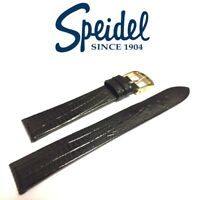 16mm SPEIDEL 755330 DARK BROWN SEMI-GLOSS GATOR LIZARD GRAIN WATCH BAND STRAP