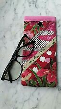 Floral Frenzy Glasses Case Soft Padded Sunglasses Pouch Handmade Snap Closure