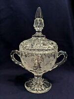Sugar Holder, Etched and Cut Glass Flowers, Tall Pinnacle Lid, Double Handled