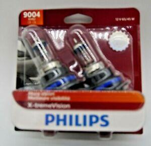 PHILIPS X-TREME VISION HB1 9004 CAR HEADLIGHT 65/45 WATTS HALOGEN BULB (PAIR)