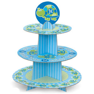 TURTLE PARTY Cupcake Stand 1st First Birthday Cake Treat Cupcakes Cakes Display