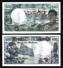 New Hebrides 500 Francs 1979 , AUNC / UNC , P-19c  Sign3 , Prefix O