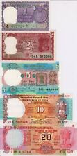 India Set Lot 1, 2, 5, 10, 20 UNC Rupees - Low Start - Paper Money Banknotes