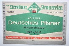 14541 DDR Etikett Dresdner Brauereien Vollbier Deutsches Pilsner old beer label