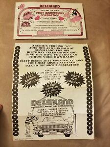 GENUINE ARCHIE COMICS 1989 DEZERLAND BIRTHDAY CELEBRATION INVITATION & AD RARE