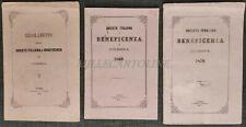 SOCIETA' ITALIANA DI BENEFICIENZA IN ODESSA - 3 Fascicoli, 1863 - 1870 - 1871
