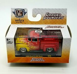 M2 Machines 1956 Ford F100 Truck Ground Pounders R20 Red Flames Die Cast Car 1:6