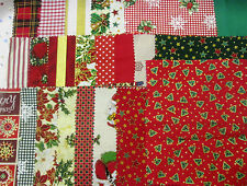 Patchwork Fabric Remnant Christmas Bundle Mixed Craft Scraps Material Offcuts