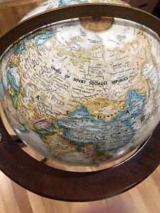 "Vintage BOMBAY COMPANY Floor World Globe Replogle 12"" Classic Series RARE 80s"