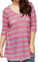 Ladies Plus Size Pink Grey Sheer Striped Tunic Top 3/4 Sleeve Womens