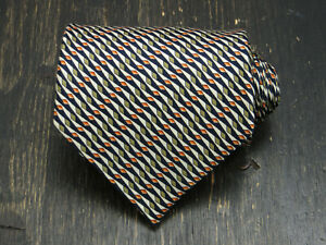 Gucci Italy Silk blue white green peach geometric pattern neck tie