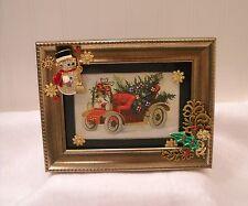 "Framed Jewelry Postcard 1900  Repro-"" Antique Christmas Car""  Flower Arrangement"