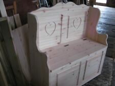monks bench with hearts,settle,storage bench,pew,solid pine,handmade