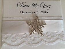 Personalised Winter Wedding Snowflake Day/evening Pocketfold Wedding Invitations