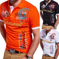 BEHYPE Herren Poloshirt Slim Fit Hemd Kurzarm T-Shirt Schwarz/Weiß/Rot/Blau NEU