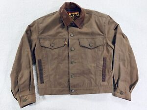 Kakadu Traders Oiled Tin Cloth Jacket Rancher Leather Trim Mens Size XS Womens M