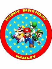 """Super Mario Personalised 7.5"""" Birthday Cake Topper on Icing"""