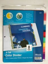 8-Tab See Through Assorted Color 3-Ring Binder Divider White Insertable Tabs NEW
