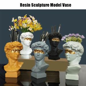 Resin Home Decor Flower Pot Pen Makeup Brush Holder Head Sculpture Model V.TA