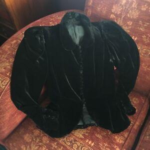 Wow! Edwardian Victorian Black Velvet Riding Jacket Antique Clothing circa1900