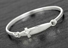 Silver Plated Baby's Christening Bangle With Cross For Boys Girls Keepsake Gifts
