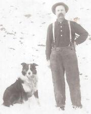 1910s Rp Postcard Man With Pet Border Collie Type Dog Winter Scene