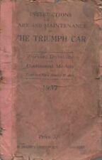 TRIUMPH 14/60HP 2-LITRE VITESSE DOLOMITE CONTINENTAL '37 OWNERS MAINTENANCE BOOK