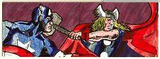 2014 Marvel Premier Matthew Brazier Capt America/Thor 4-PNL SKETCH Never Folded