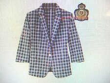 Uniqlo Green check tailored Emblem shirt blazer School preppy jacket style