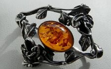Delightful pretty 925 stamped sterling silver Art Nouveau style amber brooch pin