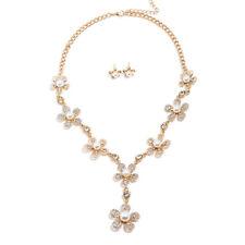UK Gold Wedding Bride Crystal Diamond Pearl Flower Necklace Earrings Set Jewelry