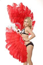 """Red 2 layers Ostrich Feather Fan  30""""x 54"""" with gift box Burlesque dance"""