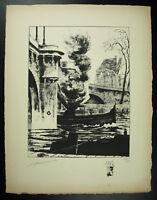 R Bayard Vista Del Puente Nueva Y Sus Barcos París Grabado Original Firmada 1947