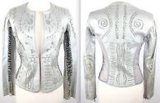 sz 4 Donna Karan Collection silver lambskin leather jacket vest bolero