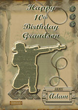 personalised birthday card a5 size army soldier son grandson nephew brother