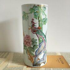 Ancien Grand Vase Rouleau Chinois Oiseau Fleurs - Chinese Vase