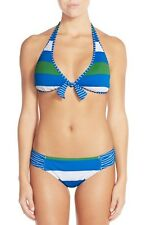 TOMMY BAHAMA RUGBY & NOTEBOOK STRIPE SHIRRED BIKINI SWIM BOTTOMS BLUE SMALL $63