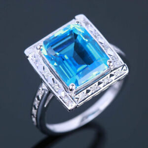 Solid 14K White Gold PAVE DIAMOND STERLING ENGAGEMENT FINE RING SWISS BLUE TOPAZ