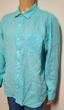 TOMMY BAHAMA RELAX Teal/Blue Linen Men's Long Sleeve Shirt - sz Large