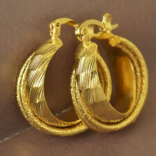 "Beautiful New 9K Solid Yellow Gold Filled 3/4"" Embossed Twist Hoop Earrings"