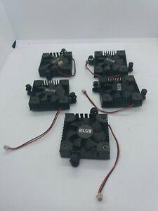Job Lot Set of 5 X Mini 40mm Heatsinks & Fans for Cooling Graphics Chips etc