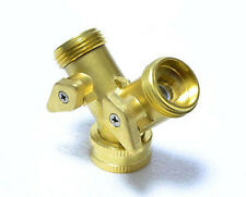 "2 Way Brass Tap Adaptor Y Splitter Washing Machine Garden Hose Connector 3/4"" UK"