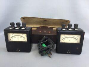 Vintage Ammeter & Voltmeter with Leather Case