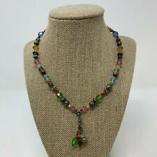 """Single Strand Multi Color Beads Beaded 16"""" Necklace 2"""" extender 1.5"""" Charm"""