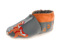 ROBeeZ Ultra-Soft Flexible Leather Crib Shoes Boys Geo Digi Dinosaur 0-6M NWB