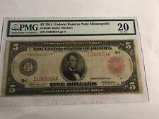 Fr 840b 1914 $5 Minneapolis Federal Reserve Note red seal PMG 20