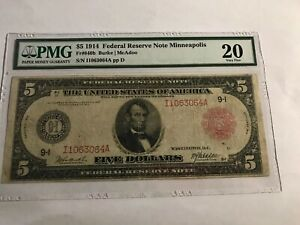 2 NOTES 1914 $5 Minneapolis PMG 20 and 1914 $10 New York PMG 12 RED SEAL