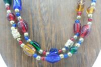 """Vintage Multi Layer Color Various Shape Glass Seed Bead Gold Tone 30"""" Necklace"""