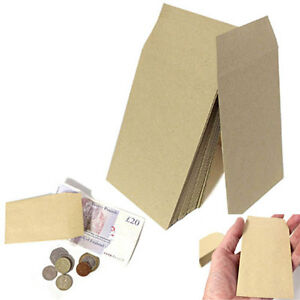SMALL BROWN ENVELOPES 100mmx62mm DINNER MONEY WAGES COIN TUCK POCKET SEEDS BEADS