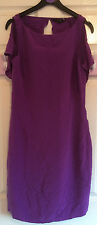 Dark Purple 100% silk Coast Fitted Dress with keyhole back size 10 Wedding Prom